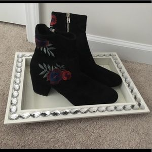 Rampage black embroidered ankle boots